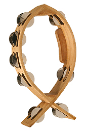 Mid-East Fish Tambourine, 7-By-12-Inch